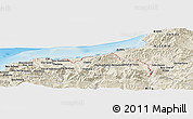 Shaded Relief Panoramic Map of Bou Amara