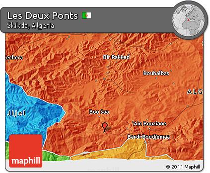 Political 3D Map of Les Deux Ponts