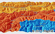 """Political 3D Map of the area around 36°47'25""""N,73°10'30""""E"""