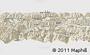 """Shaded Relief Panoramic Map of the area around 36°47'25""""N,73°10'30""""E"""
