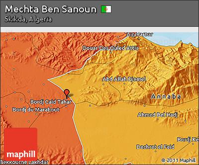 Political 3D Map of Mechta Ben Sanoun