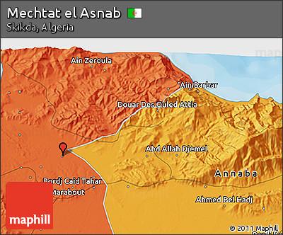 Political 3D Map of Mechtat El Asnab