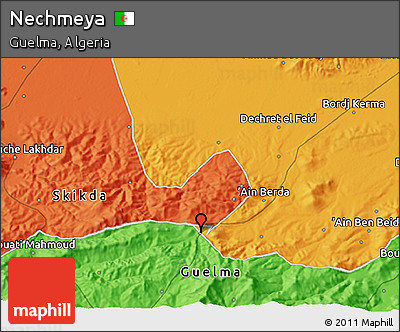 Political 3D Map of Nechmeya
