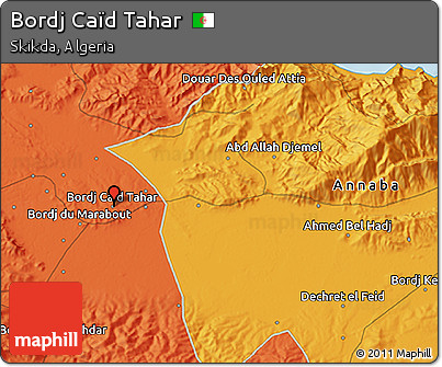 Political 3D Map of Bordj Caïd Tahar