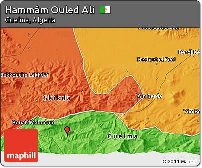 Political 3D Map of Hammâm Ouled Ali