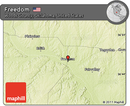 Freedom Oklahoma Map.Free Physical Map Of Freedom