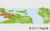 """Physical Panoramic Map of the area around 36°56'32""""S,175°10'30""""E"""