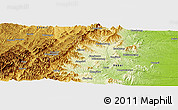"""Physical Panoramic Map of the area around 37°14'49""""N,113°58'29""""E"""