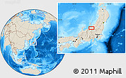 Shaded Relief Location Map of Kashiwazaki