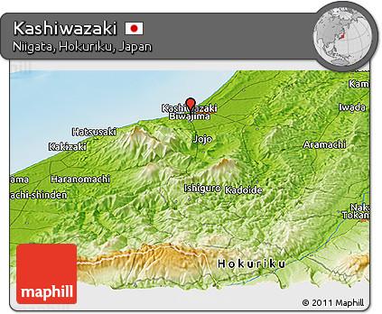 Physical Panoramic Map of Kashiwazaki