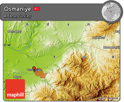 Free Physical Map of Osmaniye