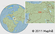 Savanna Style Location Map of Mardin, hill shading