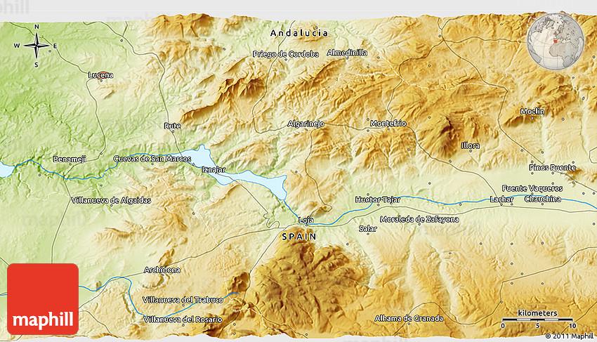 Banos Elvira.Physical 3d Map Of Banos De Sierra Elvira