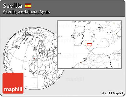 Blank Location Map of Sevilla