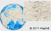 """Shaded Relief Location Map of the area around 37°14'49""""N,69°46'30""""E"""