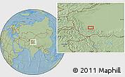 Savanna Style Location Map of Kangkir, hill shading