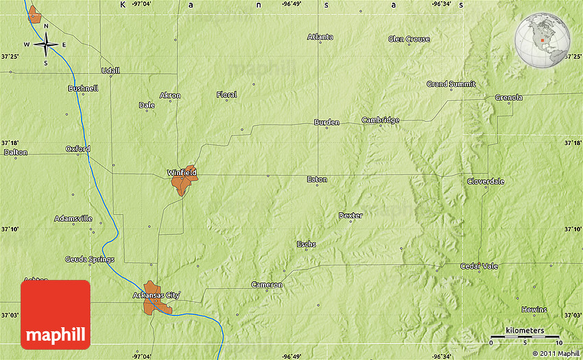 Physical Map of Arkansas City on