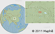 """Savanna Style Location Map of the area around 37°14'49""""N,97°49'29""""E, hill shading"""