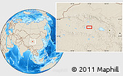 """Shaded Relief Location Map of the area around 37°14'49""""N,97°49'29""""E"""
