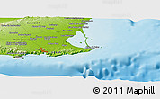 """Physical Panoramic Map of the area around 37°42'7""""N,0°46'30""""W"""