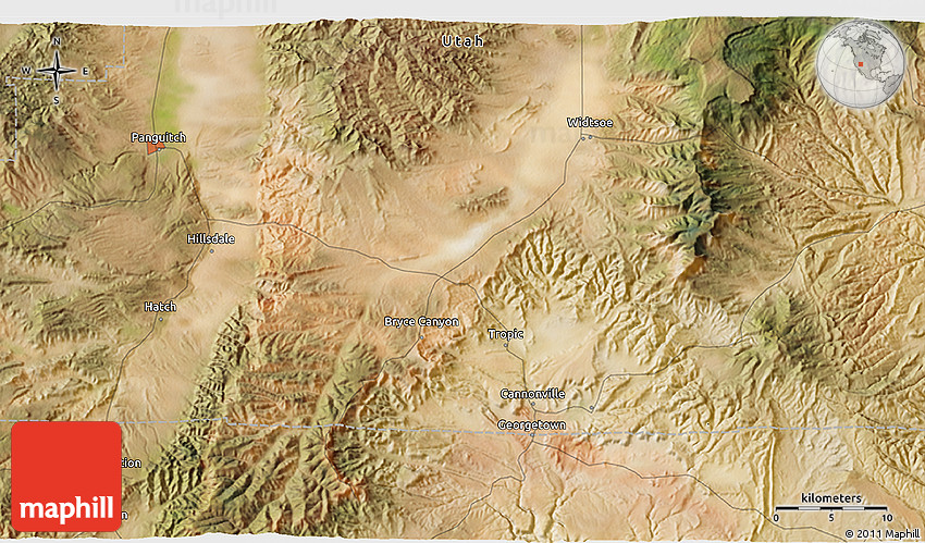 Satellite 3D Map of Bryce Canyon