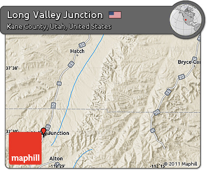 Free Shaded Relief Map Of Long Valley Junction