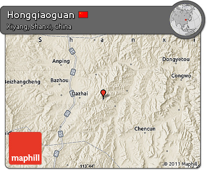 Shaded Relief Map of Hongqiaoguan