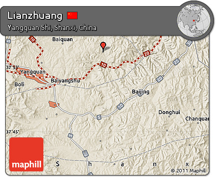 Shaded Relief Map of Lianzhuang