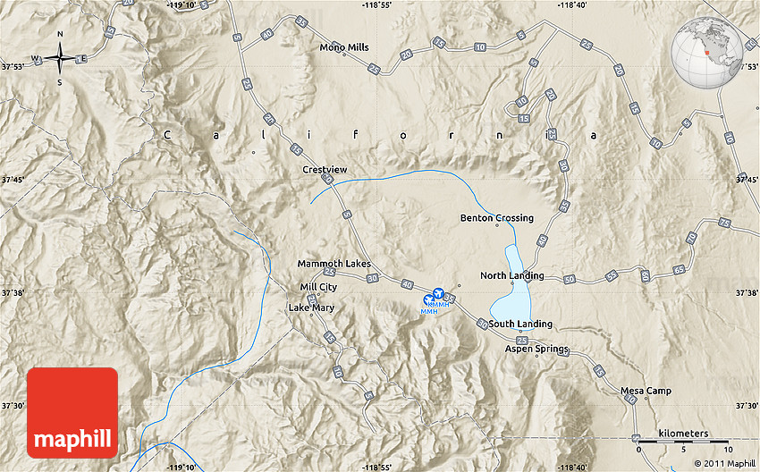 Shaded Relief Map of Mammoth Lakes