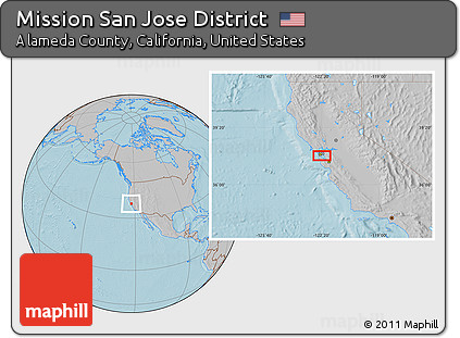 Free Gray Location Map of Mission San Jose District, hill shading