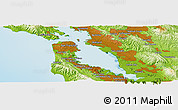 """Physical Panoramic Map of the area around 37°42'7""""N,122°19'29""""W"""