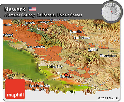 Free Satellite Panoramic Map Of Newark