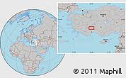 Gray Location Map of Burdur