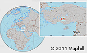 Gray Location Map of Konya