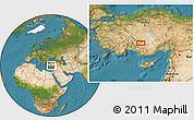 Satellite Location Map of Konya