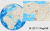 Shaded Relief Location Map of Kahramanmaraş