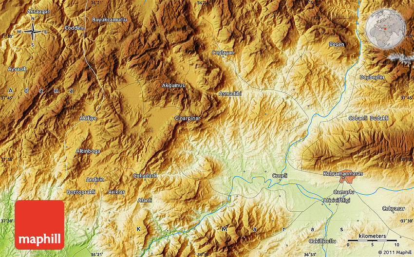 K Maras Turkey Physical Map of Andır...