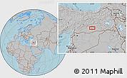 Gray Location Map of Diyarbakır, hill shading