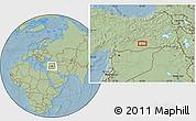 Savanna Style Location Map of Diyarbakır, hill shading