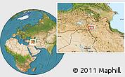 Satellite Location Map of Orūmīyeh