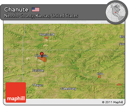 Chanute Kansas Map.Free Satellite Panoramic Map Of Chanute