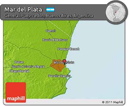 Free Physical 3D Map of Mar Del Plata