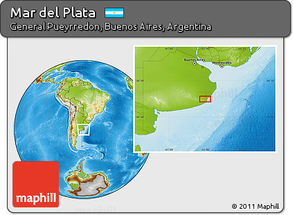 Free Physical Location Map of Mar Del Plata