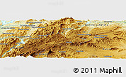 """Physical Panoramic Map of the area around 38°9'19""""N,2°28'30""""W"""