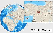 Shaded Relief Location Map of Malatya
