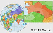 Political Location Map of Ashgabat