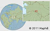 Savanna Style Location Map of Ashgabat, hill shading