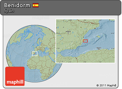 Free Savanna Style Location Map of Benidorm, hill shading