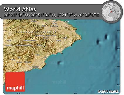"Satellite Map of the Area around 38°36'25""N,0°4'30""E"