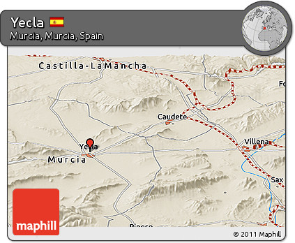 Map Of Yecla Spain.Free Shaded Relief Panoramic Map Of Yecla
